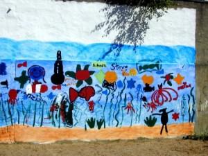 Gemeinsam von Kindern und Paten gestaltete Wand (Foto: Stadt Krefeld)